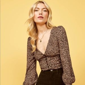 Reformation Adrienne Bengal/Leopard Blouse Top NWT